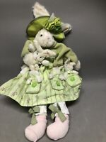 Delton Products Corp Stuffed Mom Bunny Rabbit Dressed in Green & 4 Babies Easter