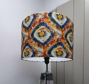 Lampshade Drum  Abstract  Ikat  blue  handmade  Pendant Floor Lamp large drum