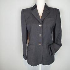 Ralph Lauren Wool velvet collar Jacket Sz 4 gray Blazer Equestrian Horse Buttons