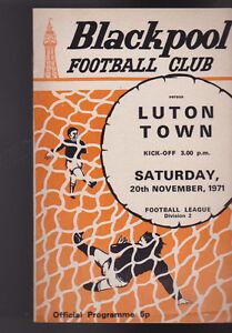 Luton Town at Blackpool FC Soccer Program Football November 20 1971