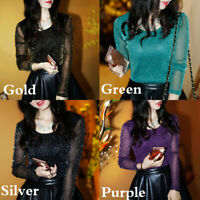 Women Shiny T-Shirt Long Sleeve Mesh Yarn Crew Neck Shirt Blouses Tops Casual
