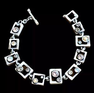 NEW Patricia Locke PINBALL Swarovski Crystal Silver Artisan Bracelet - CHAMPAGNE