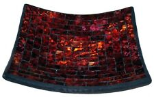 "Mosaic Glass Tray, One of a Kind - Volcano Theme - 7.5"" X 7.5"""