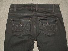 CAbi Size 0 Long Flare Dirty Blue Wash Stretch Denim Flap Pockets Womens Jeans