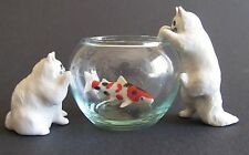 Persian Cats with Glass Bowl with Fish Miniature Cat Figurine Set/4