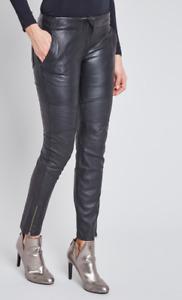 Pantalon Bel Air Véritable Cuir Noir avec Coutures Coupe Slim TM NEUF+ETQ #CKDB