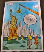 THE STATUE OF TRUMP / Cuban DONALD TRUMP Cartoon Drawing by CUBA Artist LACOSTE