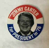 "* Presidential Political Pinback Button JIMMY CARTER 1 3/4"" PRESIDENT IN '76 #3"
