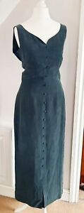 Vtg 90s Monsoon Green Silk Dress UK 10 Regency Romantic Bridgerton Sweetheart