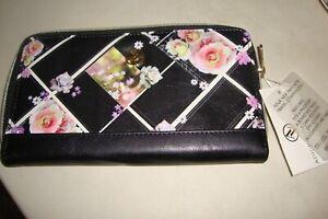 Adrienne Vittadini Zip Around Floral Passport Wallet