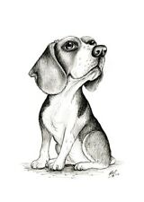 More details for draw me from my best side. beagle print. puppy gifts dog hound portrait