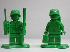 2) Green Army Men Lot Toy Story Medic Gun 30071 7595 Lego Minifigure Mini Figure