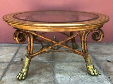 Maitland Smith Leather Top Bamboo Brass Claw Feet Coffee Table