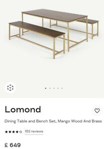 Ex-display Made.com Dining Table And Bench Set In Mango Wood And Brass RRP650£