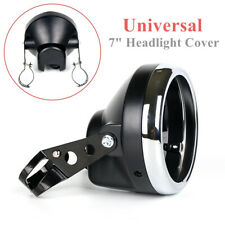 "7"" Universal Motorcycle Headlight Round Headlamp Fairing Retro Racer Cover ABS"