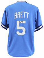 Royals George Brett Authentic Signed Blue Jersey Autographed BAS Witnessed