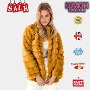 Women Fluffy Fur Jacket Warm Overcoat Outerwear Ladies Coat- MUSTERED