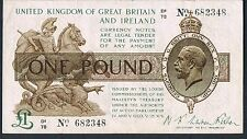 GREAT BRITAIN WARREN FISHER BANKNOTE 1 T31 P359a 1923 GVF Ser D1 Bright note
