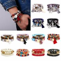 4Pcs Boho Multilayer Natural Stone Crystal Bangle Beaded Bracelet Lady Jewellery