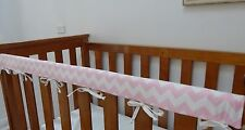 Baby Cot Crib Rail Cover Teething Pad Baby Pink Chevron ***REDUCED***