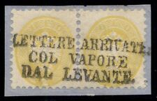Lombardy-Venetia #20 2s yellow, perf 9 ½ pair, Levante cxl w/Ferchenbauer cert