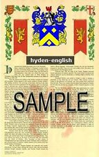 HYDEN Armorial Name History - Coat of Arms - Family Crest GIFT! 11x17