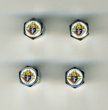 Knights of Columbus 4 Chrome Plated Brass Tire Valve Caps Car Bike Golf Carts