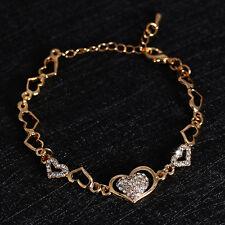 Womens Girls 9K Gold Plated Heart Crystal Zircon Brand Bangle Bracelet Jewelry