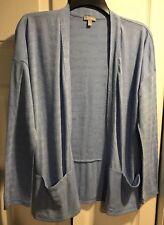 Talbots Active heather blue shrug cardigan Size Small Petite drape neck CUTE