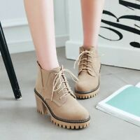 Women Lace Up Round Toe Platform Block High Heels Ankle Boots High Top Shoes Sz