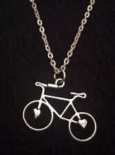 "Bike Bicycle Necklace 17""Chain BMX Indi Pendant Charm Hipster Race UK Rockabilly"