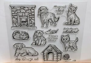 Cats & Dogs Kittens Puppies Clear Rubber Stamps with Sentiments & Accessories