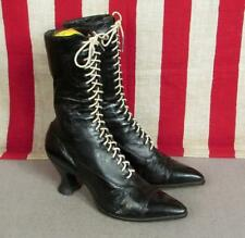 "Vintage Victorian Womens Black Leather Lace Up Tall Boots Antique 9 3/4"" Length"