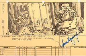 Star Wars - Ep VI - ROTJ Signed Production Storyboard- Speeders on Endor (J03)