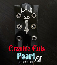 Guild Chesterfield logo AGED Pearl Guitar Headstock Logo Vinyl Sticker Decal