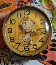1970 VINTAGE SNOOPY PEANUTS EQUITY PLAYING TENNIS PLAYER ALARM CLOCK