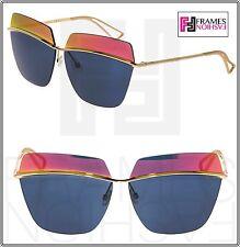 89882f908217 CHRISTIAN DIOR METALLIC Gold Blue Orange Mirrored Metal Oversized Sunglasses
