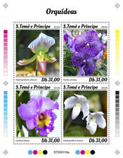 Sao Tome & Principe Flowers Stamps 2020 MNH Orchids Cattleya Orchid Nature 4v MS