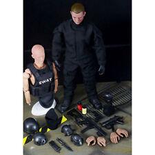 12 Soldier Action Figure SWAT Black Uniform Model Toy Military Army Suit