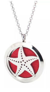 NEW Essential Oil Diffuser Necklace Locket Pendant Silver Starfish & 5 Pads