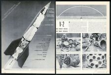 1944 V2 V-2 Nazi rocket big diagram art WWII photos vintage print article