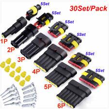30Set 1P 2P 3P 4 5 6Pin Way Car Motorcycle Sealed Waterproof Wire Connector Plug