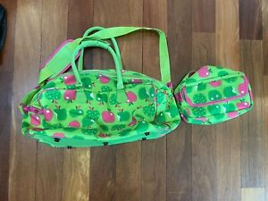 LARGE DUFFLE BAG & Matching Toiletry Luggage Travel Diaper Green Pink Apple Girl