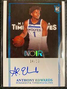 2020-21 Noir Basketball Anthony Edwards RC Auto Platinum /10