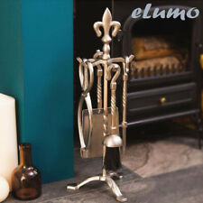 5pc Fire Companion Set Pewter Fireplace Tools Silver Stylish Home Present Gift