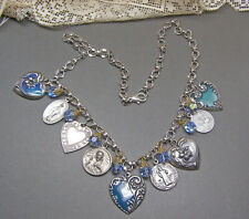 Blue Enamel Silver Heart Vintage Religious Medal Charm Necklace Flower Crystal