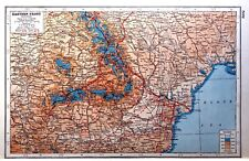 WW1 Vintage Antique Original 1920 Print Map Of The Eastern Front South