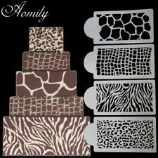 Aomily 4pcs/Set Zebra Leopard Print Wild Style Cake Stencil Airbrush Painting…