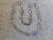"""Vintage sweet art murano crystal blue glass necklace,16"""""""