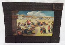 Antique c1920s MEXICO SOUTH AMERICA SCENE Framed OIL PAINTING Signed MAVERA